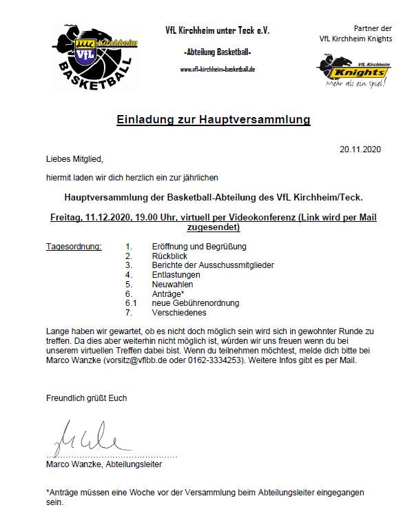 Einladung zur Hauptversammlung